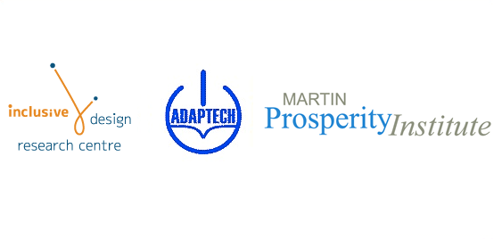 Logos for the Inclusive Design Research Centre, Adaptech and Martin Prosperity Institute.